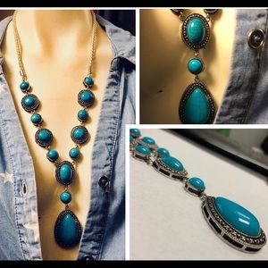 Antique Finish Silver & Turquoise necklace